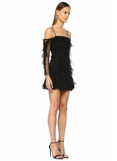 Alice McCall Things Nice Omzu Açık Mini Dantel Elbise Siyah